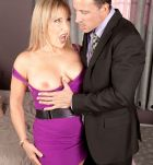 Blonde babe over 60 Luna Azul flashing red panties under dress and saggy boobs