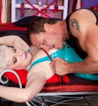 Kinky over 60 granny Jewel tied up for BDSM sex action in latex and stockings