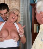 Busty blonde MILF over 60 Scarlet Andrews getting fucked in front of cuckold hubby