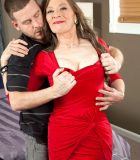 Aged lady Mona dressed in hose and heels for sex with younger man