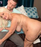 Chunky blonde MILF over 60 Vikki Vaughn exposing big fat ass and saggy tits