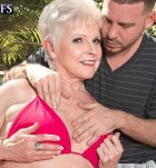 Over 60 grandma Jewel pulling out humungous tits from bikini before doggy-style fucking