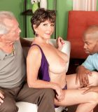 Bosomy MILF over 60 Bea Cummins fucking BBC while cuckold hubby views
