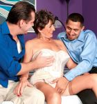Lingerie outfitted over 60 MILF Bea Cummins tugging off enormous knobs in MMF three-way