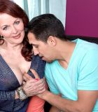 Ginger-haired grandma Katherine Merlot uncovering massive all natural boobs to entice sex