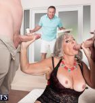 Older woman Silva Foxx gives TWO studs fellatio in front of her cuck husband