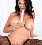 Hot 60 plus babe Rita Daniels works free of sexy lingerie before sucking a dildo