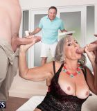 Platinum blonde MILF over 60 Silva Foxx gets caught sucking two cocks at once