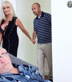 Uber-sexy grandmother Leah L';Amour fellates and nails a giant dick while her spouse sleeps