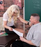 Beautiful experienced schoolteacher Dame S seduces a male student in an ebony micro-skirt and glasses
