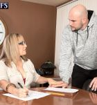 Over sixty instructor Luna Azul entices a male student in her work environment
