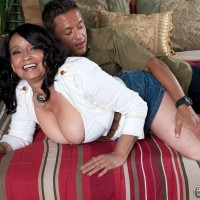 Curvy mom over 60 Rochelle Sweet lets big juggs loose for nipple sucking action