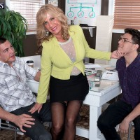 Hot blonde woman over 60 Phoenix Skye fucks 2 young men in wicked MMF 3some