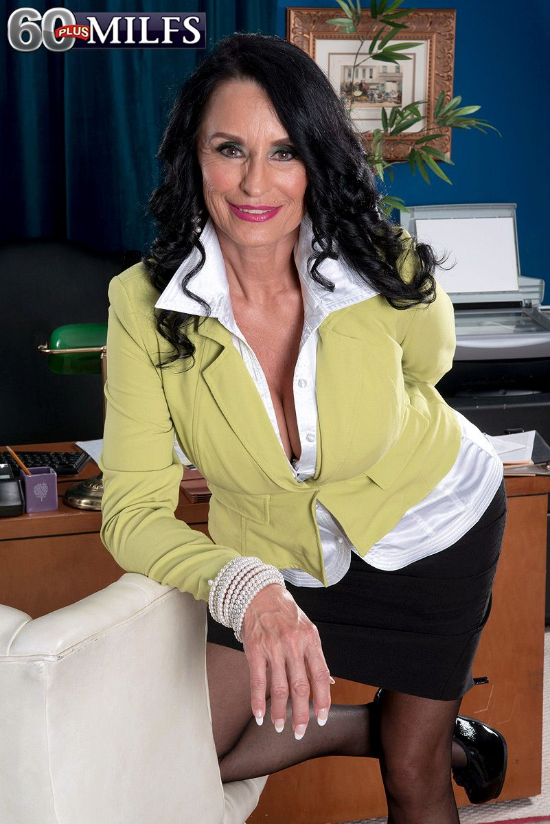 Mature secretary Rita Daniels bends over in stockings and high heels for office sex
