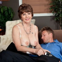 Sexy MILF over 60 Bea Cummins seduces a younger stud for office sex