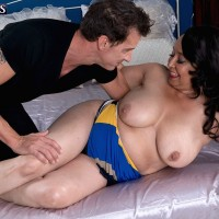 Over 60 mom Rochelle Sweet having her big saggy boobs fondled by younger man