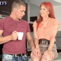 Hot redhead MILF over 60 Charlotta taking doggystyle fucking from younger dick