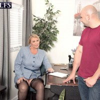 Plump MILF over 60 Alice licking cock while getting tit fucked in stockings at office