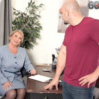 Blonde granny Alice and her nylon clad legs give blowjob in office