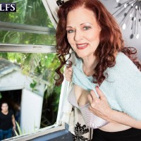 Busty redheaded MILF over 60 Katherine Merlot seducing sexy from younger cock