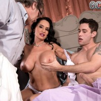 Older brunette wife with large tits caught fucking younger man by cuckold