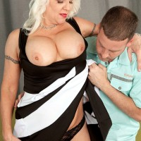 Buxom over 60 mom Veronica Vaughn sucking and riding cock