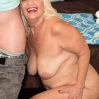 Big butt blonde MILF over 60 Vikki Vaughn getting naked for sex with young cock