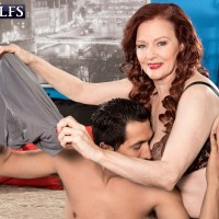 Lingerie attired MILF over 60 Katherine Merlot blowing and jacking cock