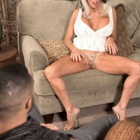 Buxom MILF over 60 Sally D'Angelo flashing panties under skirt an giving blowjob