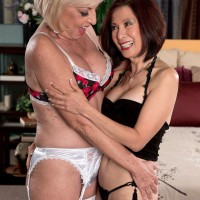 MILFs over 60 Scarlet Andrews and Kim Anh share tongue kiss and fat cock