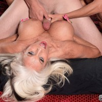 Buxom blond woman Cara Reid and Sally D'Angelo fucking and sucking in FFM 3some
