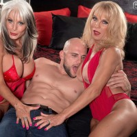 Blonde MILFs over 60 Cara Reid and  Sally D'Angelo having threesome sex