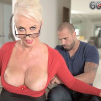 Hot over 60 escort Madison Milstar having big knockers exposed during massage
