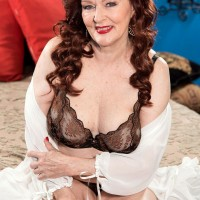 Redhead MILF over 60 Katherine Merlot giving CFNM blowjob in lingerie