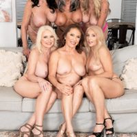 60 plus MILF Mia Magnusson gathers her best friends for an all chick orgy