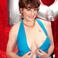 70 MILF Bea Cummins showing ample all natural mature titties on her birthday