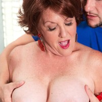 Aged European woman Gabriella LaMay uncovering hefty knockers before providing blowjobs