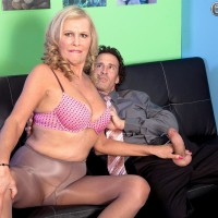 Big-boobed blond MILF over 60 Bethany James providing big pecker blowjob in work environment