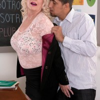 Big-titted sandy-haired 60 plus MILF lecturer Angelique DuBois draining humungous dick in classroom