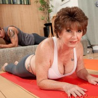 Busty Sixty plus MILF Bea Cummins revealing large titties in yoga jeans and thong underwear