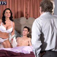 Chesty older X-rated actress Rita Daniels knocker screwing and riding on top of huge penis