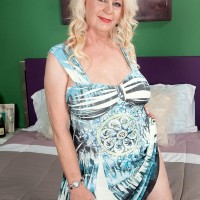 Chubby blond MILF over Sixty Angelique DuBois pulling out pierced nipples and huge fun bags