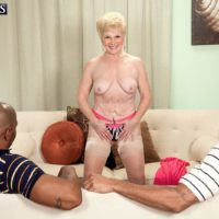 Dirty granny Jewel hooks up with TWO giant black knobs for MMF 3 way wish