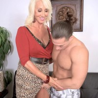 Experienced yellow-haired porno starlet Madison Milstar exposing monster-sized natural hooters before xxx sex