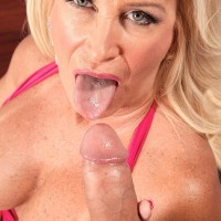 Fair-haired MILF over 60 Julia Butt unsheathing big hooters before straddling of big wood