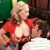 Fair-haired MILF over Sixty Miranda Torri pulling out big natural boobs and bare caboose