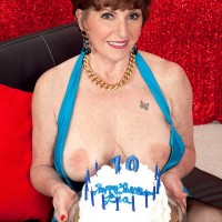 For Birthday Number 70 Bea Cummins Takes Two Cocks In Her Butt