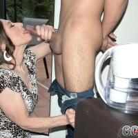 Fully-clothed grandma Mona seducing junior boy by providing his immense wood blowjob