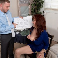 Ginger-haired granny Katherine Merlot unveiling large saggy aged melons before oral pleasure