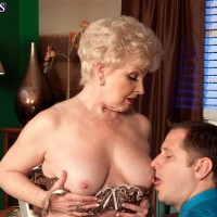 Grandmother pornostar Jewel seducing sex from younger boy in work place garmented tan tights